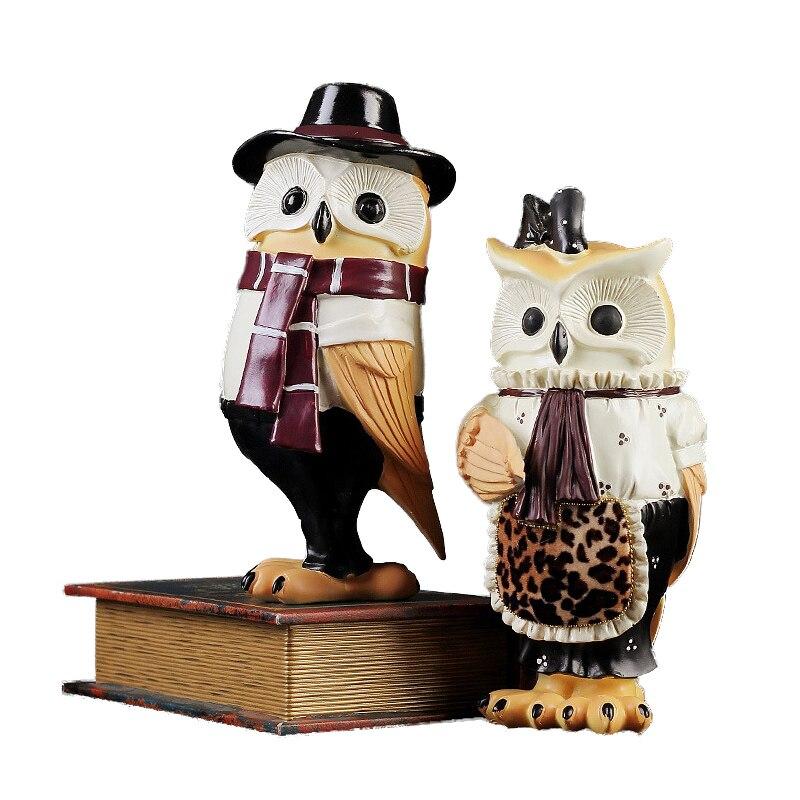 Europe Gentleman hibou résine artisanat ornements créatifs mignon bureau Miniature hibou Figurine décoration de la maison accessoires cadeaux