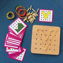 hot deal buy baby montessori educational wooden toys graphics rubber tie nail boards with cards educational early learning toys yg0364h