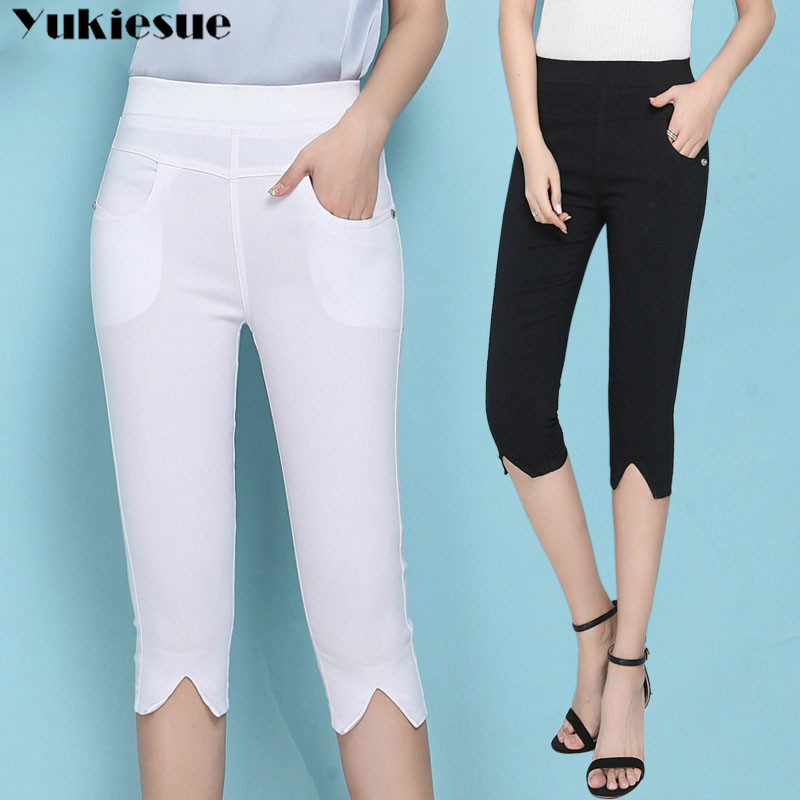 summer skinny slim women's   pants     capris   with high waist pencil   pants   for women trousers woman   pants   female white Plus size 6XL