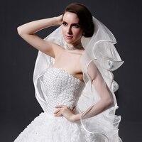 Charming Bridal Veil Wedding Ribbon Satin Edge 4 Layers White ivory wedding veil with comb