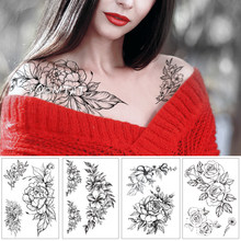 Géométrique fleur Rose yeux feuilles imperméable temporaire tatouage autocollant diamant pivoine noir tatouages corps Art bras faux Tatoo(China)