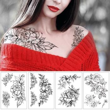 Geometric Flower Rose Eye Leaves Waterproof Temporary Tattoo Sticker Diamond Peony Black Tattoos Body Art Arm Fake Tatoo
