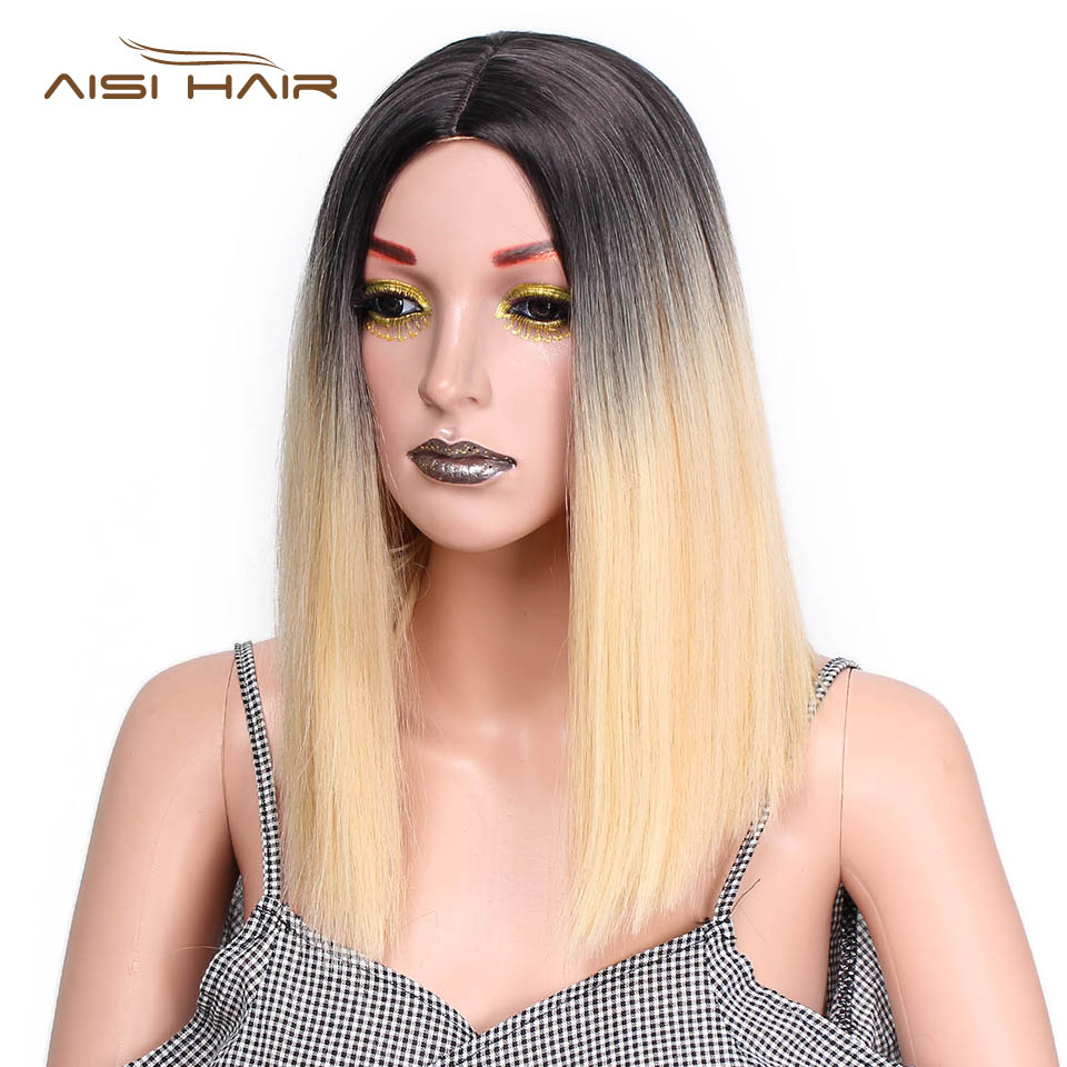 I's a wig Black  Ombre Pink Wig  Straight  Synthetic Wigs  Short Black Hair  for  Women  High temperature Fiber