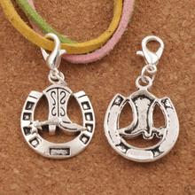 100pcs Lucky Horseshoe with Cowboy Boot Lobster Claw Clasp Charm Beads 35.1x16mm Jewelry DIY C277