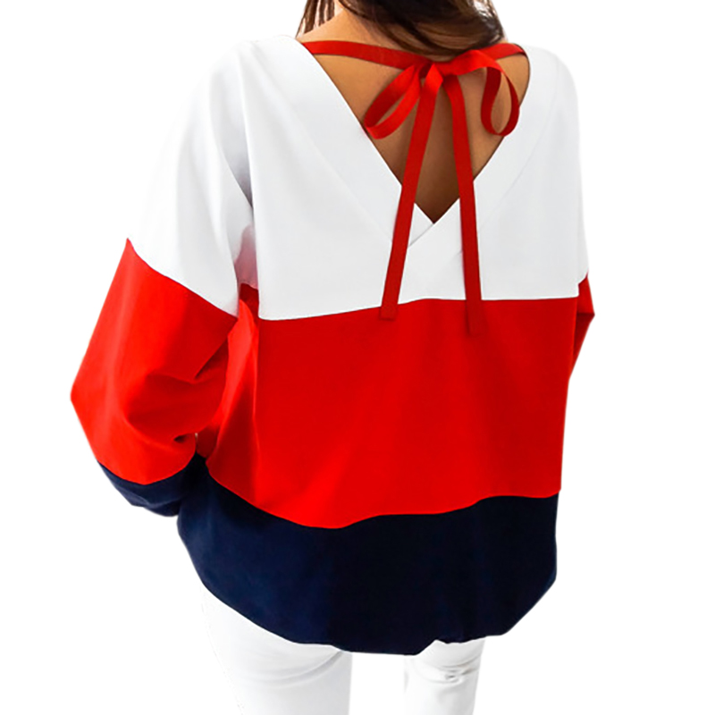 Women Winter Autumn Shirts Long Sleeve Patckwork Shirt Harajuku Tracksuits Casual Striped Blusas Basic Tops New Fashion GV991B