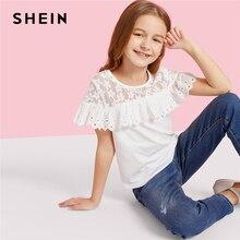 SHEIN/Детская милая блузка для девочек с кружевной кокеткой, вышивкой и рюшами, г. Летние повседневные топы с короткими рукавами