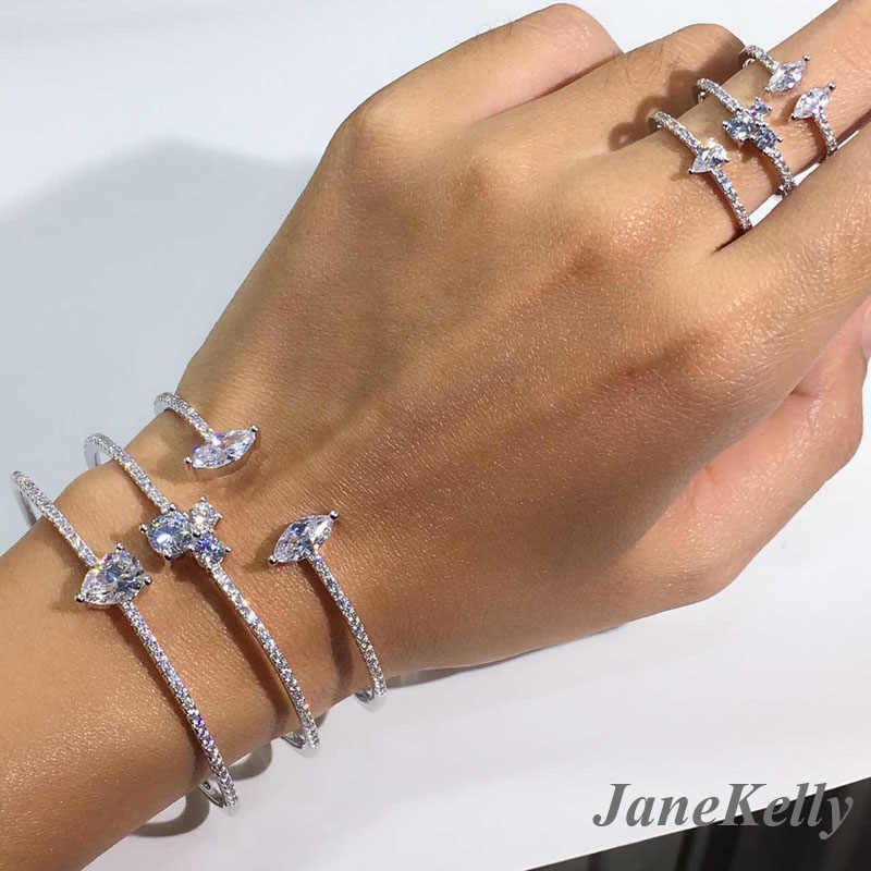 Trendy Luxury Stackable กำไลข้อมือสำหรับงานแต่งงาน Cubic Zircon คริสตัล CZ ดูไบเงินสร้อยข้อมือ Jewelry2019