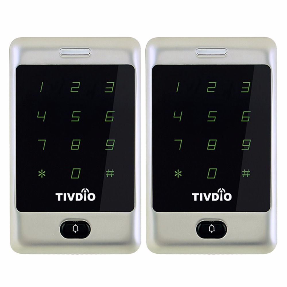 2pcs TIVDIO T-AC01 RFID Access Control Touch Keypad Door Access Control System 125KHZ KDL Metal Case Shell Backlight F9503D metal shell touch keyboard 125khz rfid access control system entrance guard password and rfid 10pcs crystal keyfob