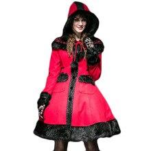 Gothic Lolita Hooded Wool Coat Women's Winter Red Jacket Cute Dolly Long Cloak Woolen Jackets With Hat Long Sleeve Coats