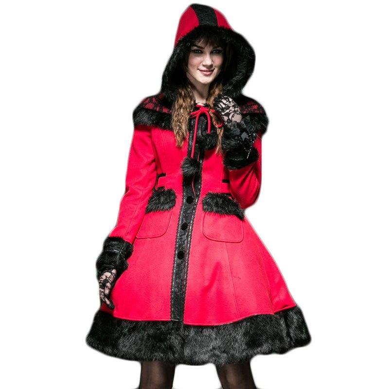 Gothique Lolita À Capuche manteau de laine de Femmes D'hiver Rouge Veste Mignon Dolly Long Manteau vestes en laine Avec Le Chapeau à manches longues Manteaux