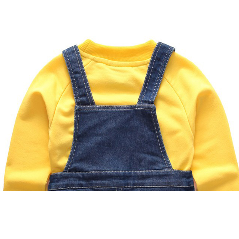 Autumn Baby Clothing Suit Overalls Long Sleeved Shirt Kid Denim Overalls Sets Boy Clothing Set Child Jean Suit Accessorie YL34 2015 autumn clothes baby sets baby boys fashion o neck long sleeved suit shirt and pants apparel set clothing for baby kid boy