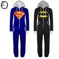 2017 Nuevo Unisex Adultos Pijamas Pijamas Onesie Hombres mujeres Batman Superman pijamas Pijama de Dormir Pijama Pijama de una pieza
