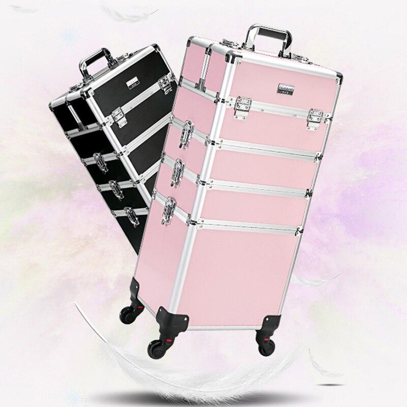 Bagaj ve Çantalar'ten Tekerlekli Bagaj'de Yeni Kadın Arabası Kozmetik Çantaları Tekerlek, Çivi Makyaj Araç Kutusu, çıkarılabilir Katlanabilir Güzellik Kutusu Seyahat çantası Haddeleme Bagaj Bavul'da  Grup 1