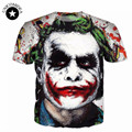 2017 Новинка мужская 3D Футболка С Коротким Рукавом печати душераздирающий клоун мужчины футболка Бэтмен Джокер DC Comics Супергероя футболки