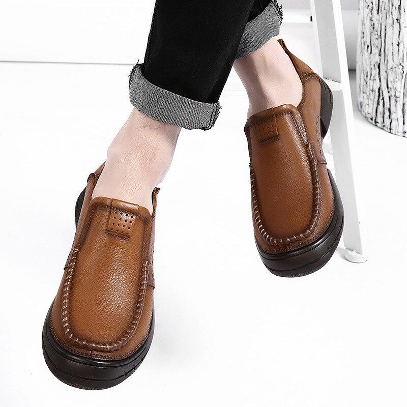 Nouveaux Chaussures Hommes Mode En Cuir kaki Marée ChaussuresMarron Casual 2019 Sauvage De NwPy8nOmv0