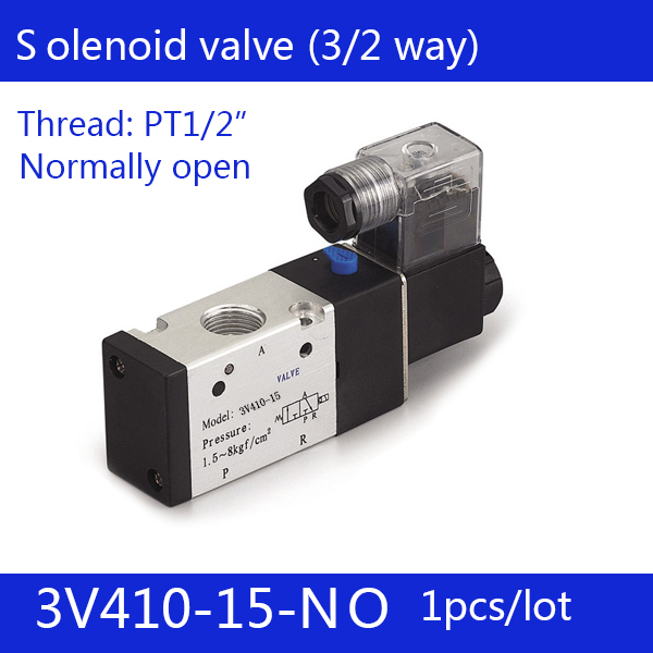 1PCS Free shipping Pneumatic valve solenoid valve 3V410-15-NO Normally open DC24V AC220V,1/2 , 3 port 2 position 3/2 way, free shipping solenoid valve with lead wire 3 way 1 8 pneumatic air solenoid control valve 3v110 06 voltage optional
