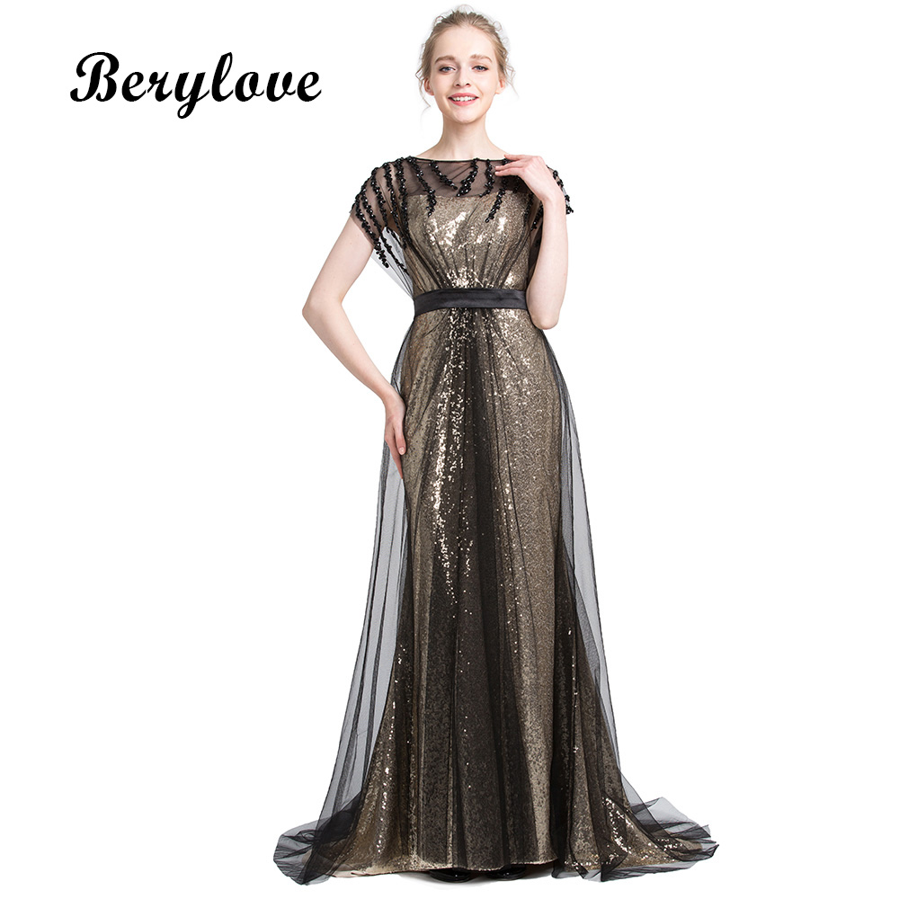 BeryLove Mermaid Sequin Tulle Evening Dresses 2018 Beaded Long ...