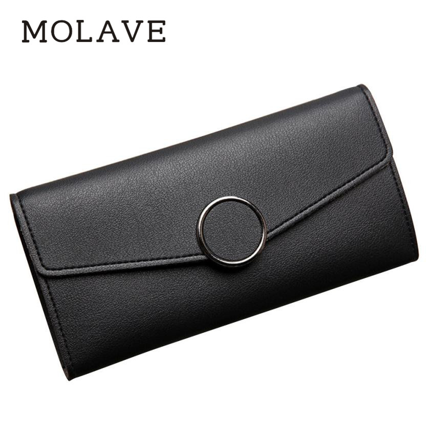 MOLAVE wallets wallet female Solid women purse pu leather Long multi-card bit buckle small purse zipper hasp wallets Jun4
