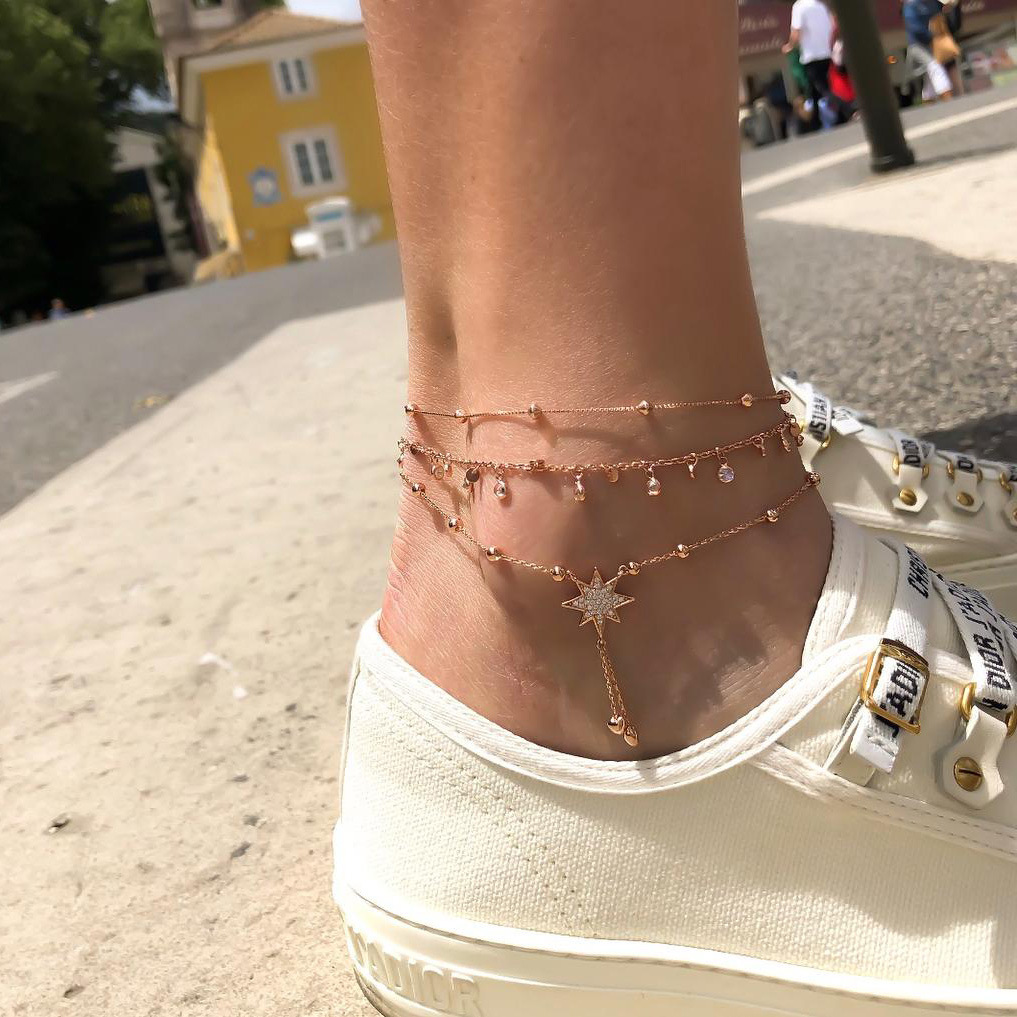 New Anklets Fashion Popular Beach Handmade Women's Multi-layer Round Crystal Anklets Seaside Hot Sale Jewelry Wholesale