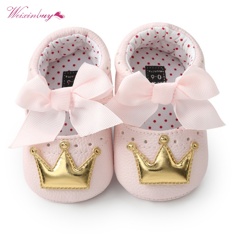 Baby Girls Princess Shoes Spring Autumn PU Cute Butterfly Crown Anti-slip Toddler Shoes Baby Soft Soled Shoes Indoor Crib Shoes