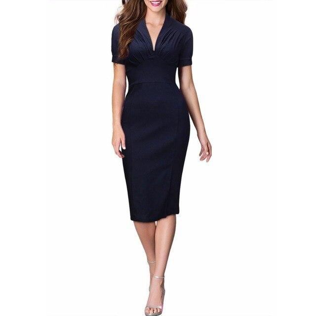 Women S Slim Elegant Pencil Dress Office Lady Work Business Wrap Sheath Y Bodycon
