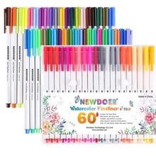 Получить скидку Caliart 60 Fineliner Цвет Stylus Pen Set 0.38 мм Цветной Fine Line рисунок пером пористой тонкой точка Маркеры Цвет ING книга