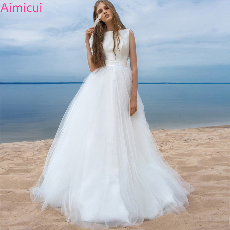 Beach Wedding Dresses 2019 Vestido Noiva Praia Simple White Tulle Casamento Sashes Bridal Gown Custom made Plus size