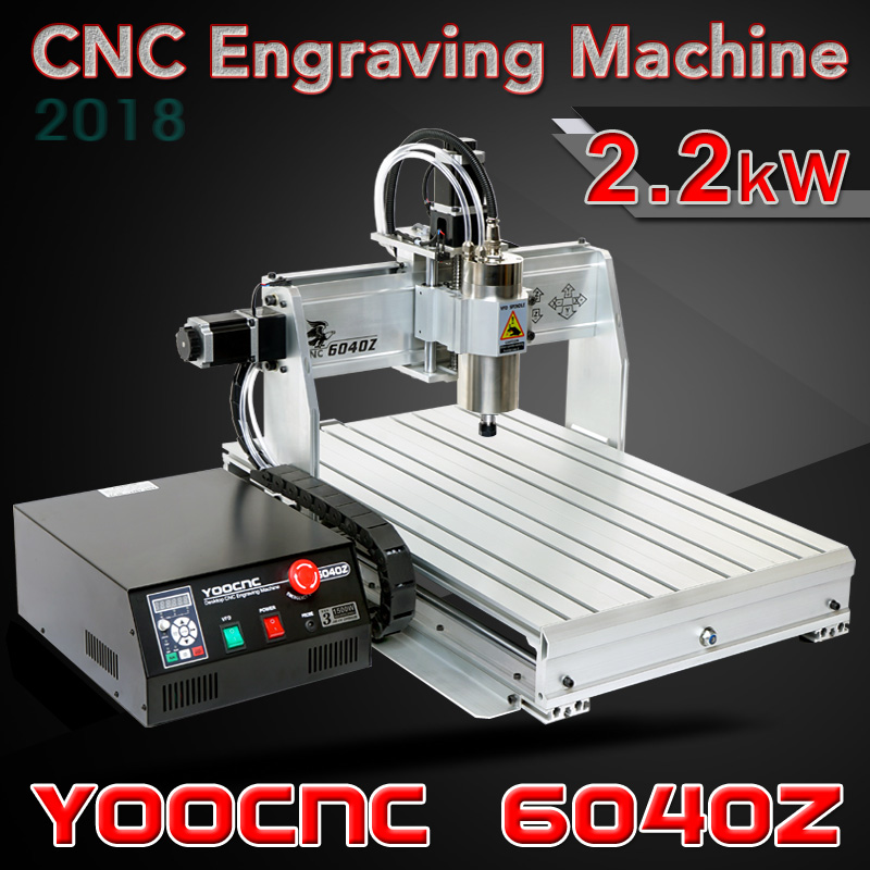 YOOCNC 6040Z Desktop CNC Engraving Machine 2 2kw cnc milling machine with USB port and water
