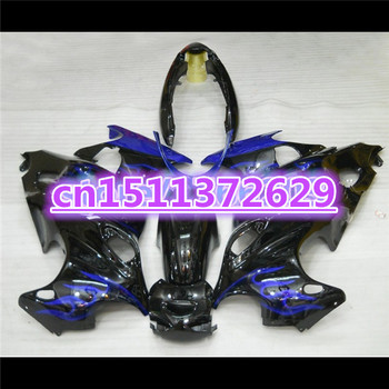 Fairings for A GSX750F 600F Katana 1997 98 99 00 01 02 03 04 2005 GSX 600 F 2005 Fairing blue flame black-Dor for SUZUKI D image