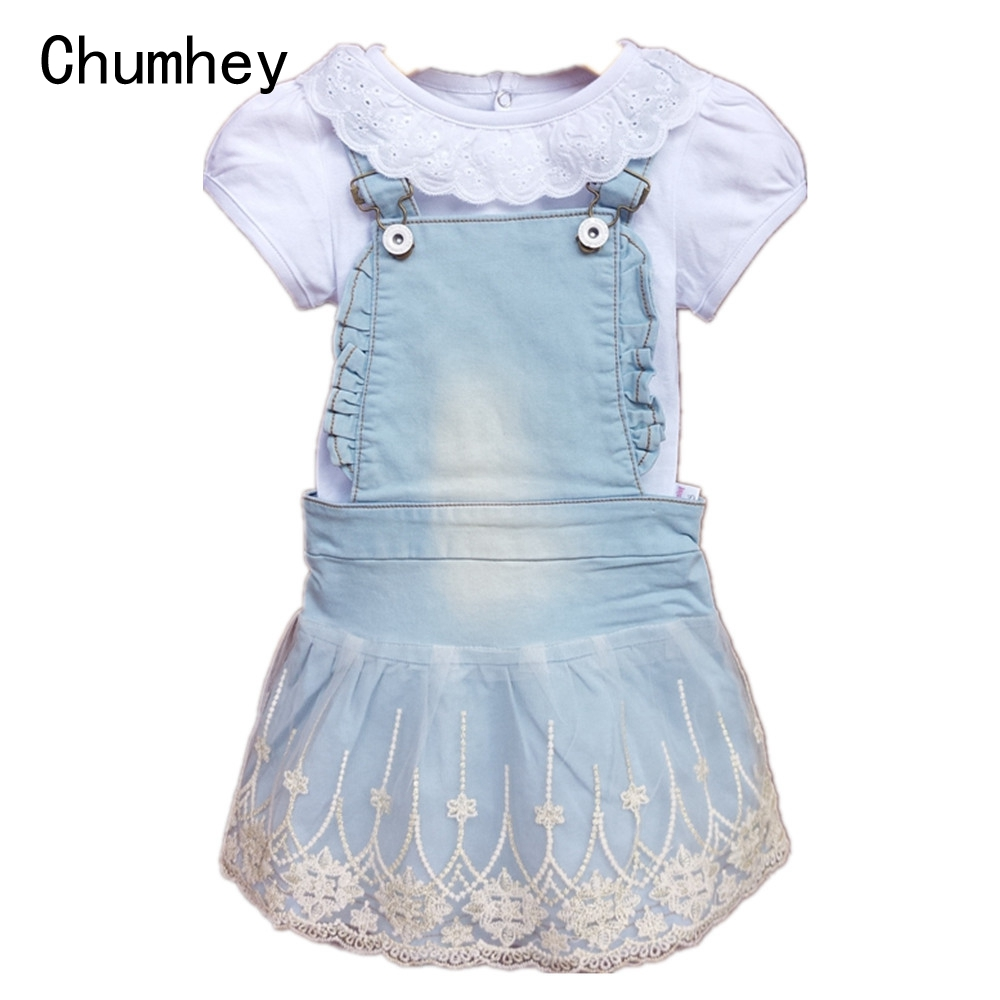 Baby Girls Clothing Sets Suspender Skirts With Cotton short sleeves white t shirt  2 pieces overalls Summer Kids Clothing SetsBaby Girls Clothing Sets Suspender Skirts With Cotton short sleeves white t shirt  2 pieces overalls Summer Kids Clothing Sets