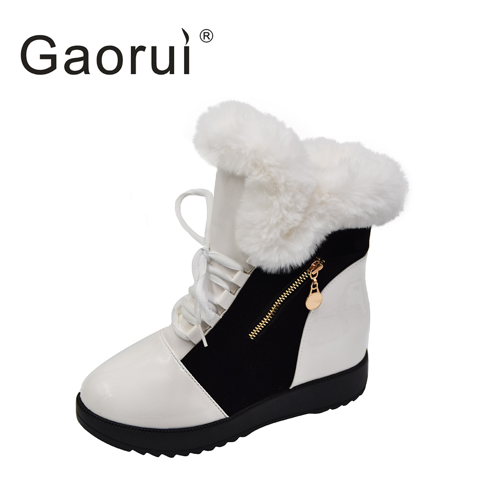 2017 Gaorui New Winter Europe And American Snow Boots Lace-up And Brushed Female Height Increasing Warm Cotton Boots With Zipper brushed cotton twill ivy hat flat cap by decky brown