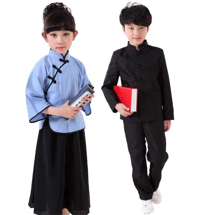 Free Shipping Kids Chinese Costume Kindergarten Primary School Children Boys Girls Stage Chorus Graduation Ceremony Clothes