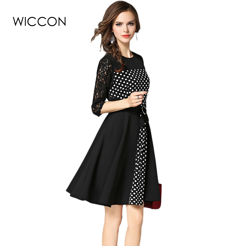 summer dress women office lady a-line lace dresses woman sexy defined waist autumn dot vestidos bow elegant vestido black slim