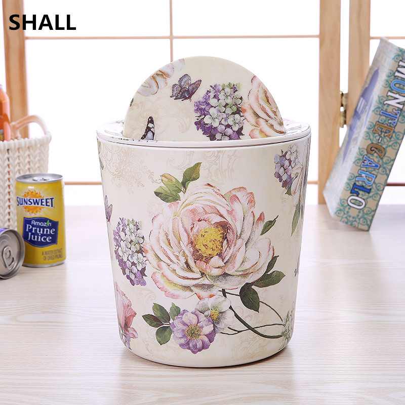 SHALL 3L Round Rolling Cover Type Desktop Trash Bin Garbage Can Sundries Storage Bucket Home Decor Parlor Ash Bin Dustbin