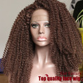 brown color Middle Bang Synthetic Wigs Kinky Curly Lace Front Wig Heat Resistant Fiber Curly Synthetic Lace Front Wig