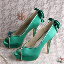 Wedopus MW724 Custom to Make Top Brand Platform Wedding Shoes Green Satin Open Toe