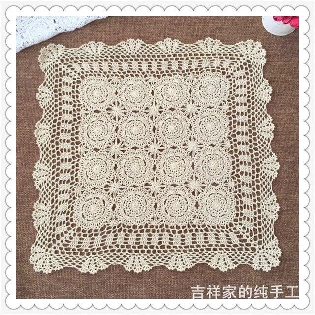 2016 nueva llegada de algodón crochet cuadrado amarillento y flores ...