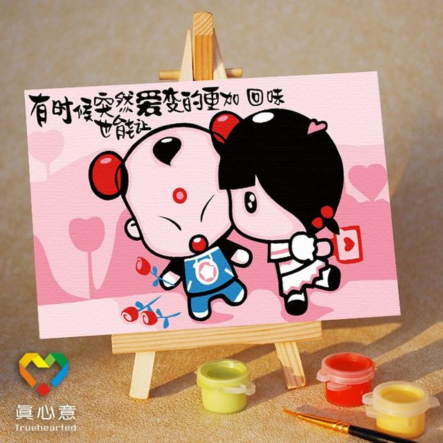 Diy digital oil painting colored drawing mini cartoon oil painting lucky boy female 10 15 belt easel