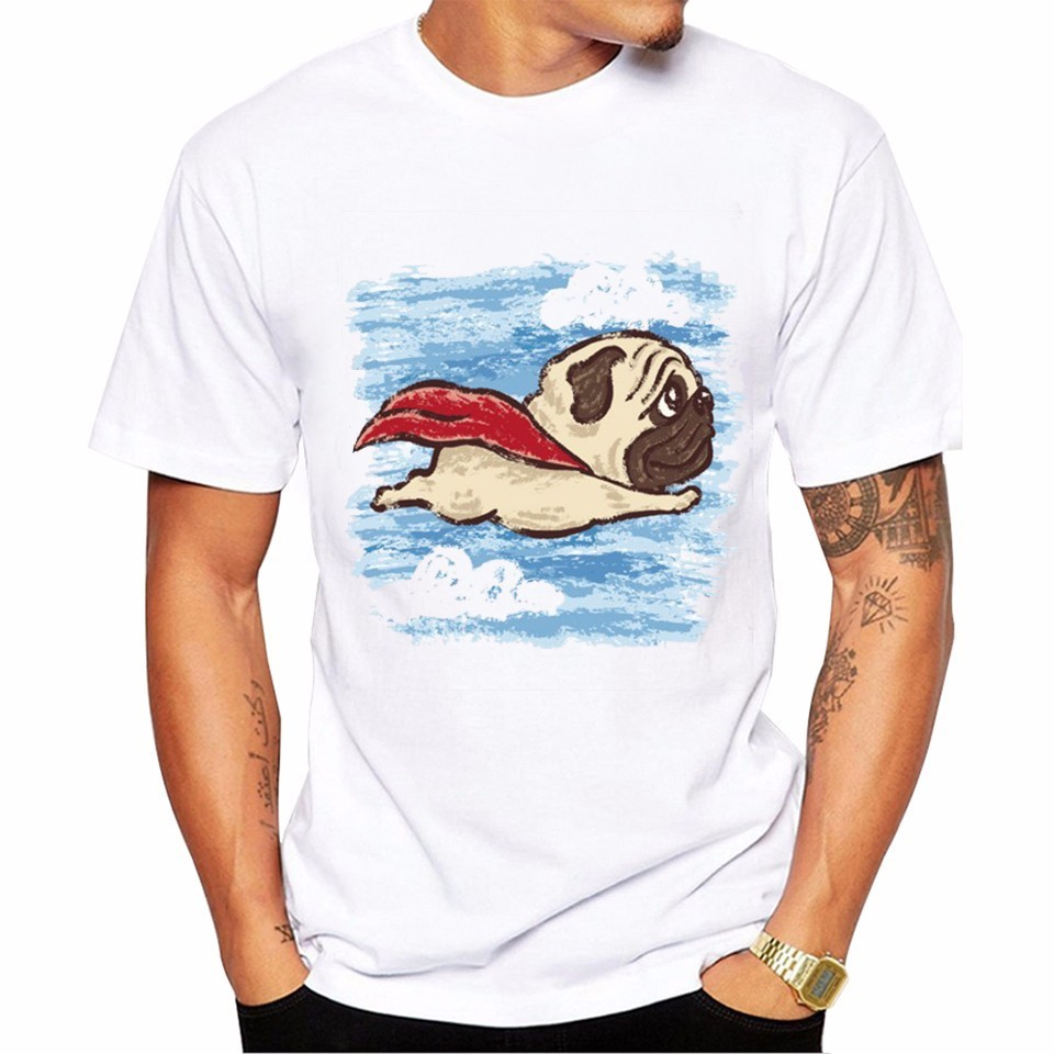 2017 Mens Flying Pug Dog Print T shirt Men Summer Funny Hipster Brand Animal Tees