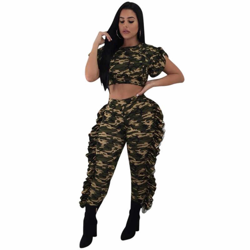 Камуфляжный комплект из двух предметов, летний женский комплект, короткий рукав, укороченный топ и штаны, комплект с рюшами, женские спортивные костюмы, камуфляжный спортивный костюм для женщин