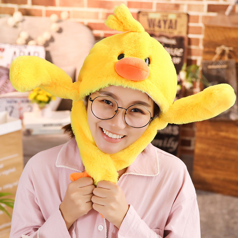 New Style Funny Animals Duck  hat with ears moving plush toy stuffed soft creative hat doll children cute birthday gift