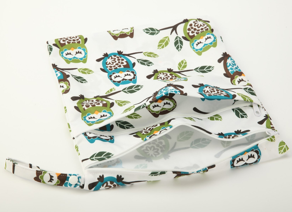 [Sigzagor]Wet Dry Bag With Two Zippered Baby Diaper Bag Nappy Bag,Waterproof Reusable 36cmx29cm Owl&Tree 100 Designs
