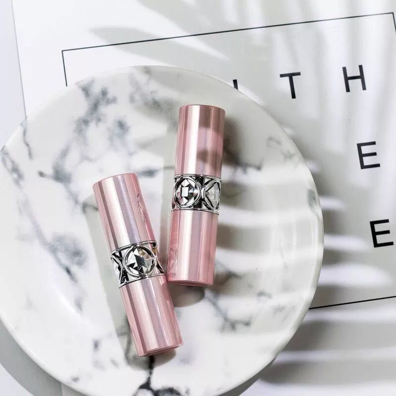 12.1mm 50pcs New Arrival Empty Pink Lipstick Tube, High Quality Plastic Diamond Lipstick Container, Cylindric Lip Balm Container free shipping 12 1mm 10 20 50pcs lot black white high grade lipstick tube spotted empty lip balm container