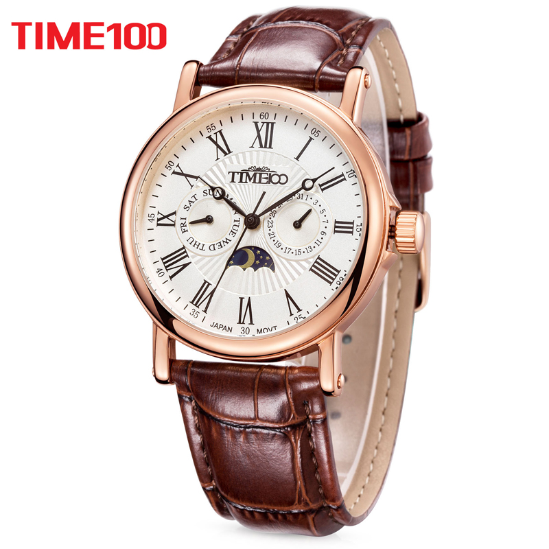 TIME100 Men Watches Quartz  waterproof auto date sun Phase Leather Strap Business WristWatch stainless steel relogio masculino