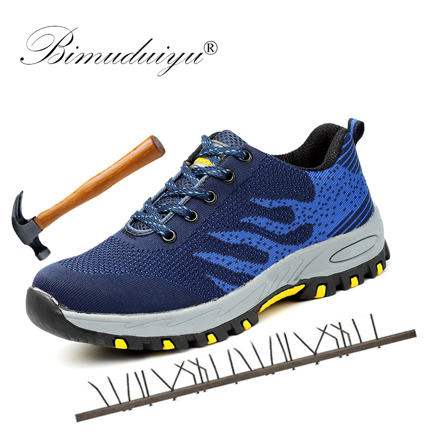 BIMUDUIYU Men s Work Safety Male Sneakers Shoes Breathable Steel Toe Cap Work Safety Boots Men