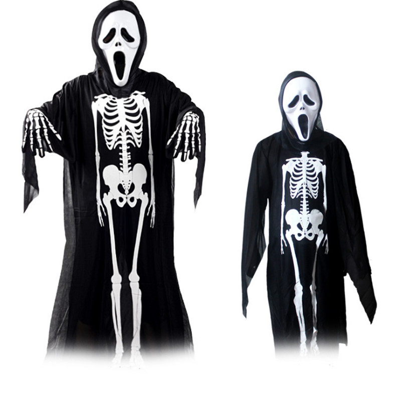 Parent-child terror ghost costume family terror black skeleton cosplay clothing Scary Halloween costumes for man boy woman girl