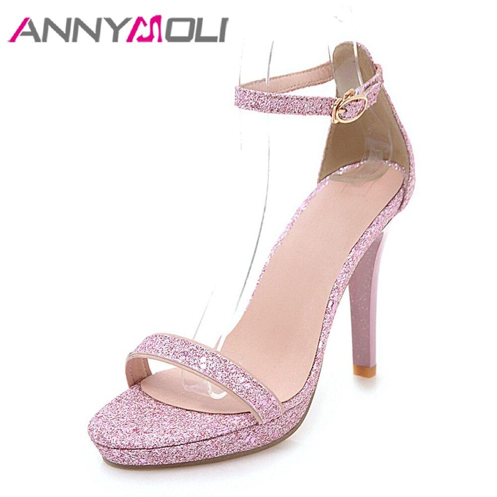 63c57df405f ANNYMOLI Women Sandals Peep Toe Platform Shoes Glitter High Heels Ladies Party  Shoes Stiletto 2018 Summer Sandals Pink Size 43