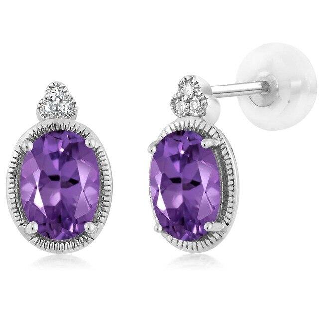 GemStoneKing 6x4mm Natural Purple Amethyst Women's Earrings Solid 10K White Gold Diamond Stud Earrings