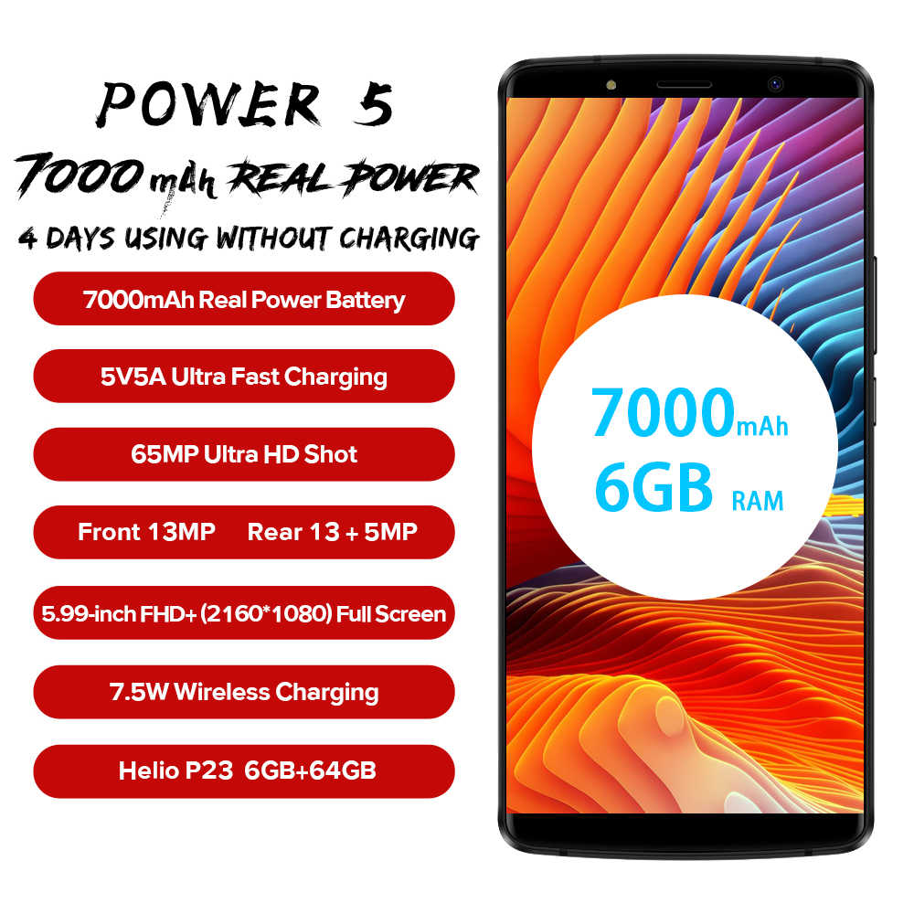 "LEAGOO Power 5 Smartphone 5.99 ""FHD + 18:9 RAM 6GB ROM 64GB Android 8.1 MT6763 Octa Core 7000mah double arrière cames 4G téléphone portable"