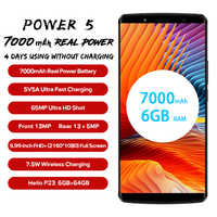 LEAGOO Potenza 5 Smartphone 5.99 FHD + 18:9 RAM 6GB di ROM 64GB Android 8.1 MT6763 Octa Core 7000mah Posteriore Dual Camme 4G Del Telefono Mobile